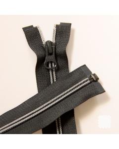 Zip YKK spirálový vel. 5 - tmavě šedý s kontrastním prošitím dělitelný - 66 cm