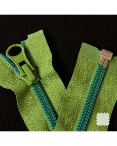 Zip YKK spirálový vel. 5 - zelený s modrým prošitím dělitelný - 64 cm