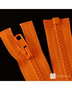 Zip YKK kostěný Vislon Flat vel. 5 - oranžový dělitelný - 63 cm